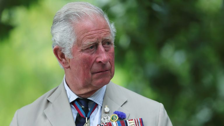 Prince Charles, Prince of Wales attends the VJ Day National Remembrance event, held at the National Memorial Arboretum in Staffordshire, on August 15, 2020 in Alrewas, England