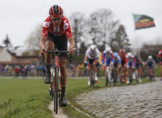 Team Sunweb's Tiesj Benoot leads the way at the 2020 Kuurne-Brussel-Kuurne