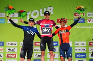 Tao Geoghegan Hart, Pavel Sivakov and Vincenzo Nibali on the final podium at Tour of the Alps