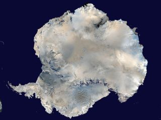 A satellite picture of Antarctica.