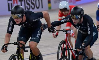 New Zealand's Aaron Gate and Campbell Stewart on their way to the silver medal in the Madison at the 2020 UCI Track World Championships in Berlin, Germany