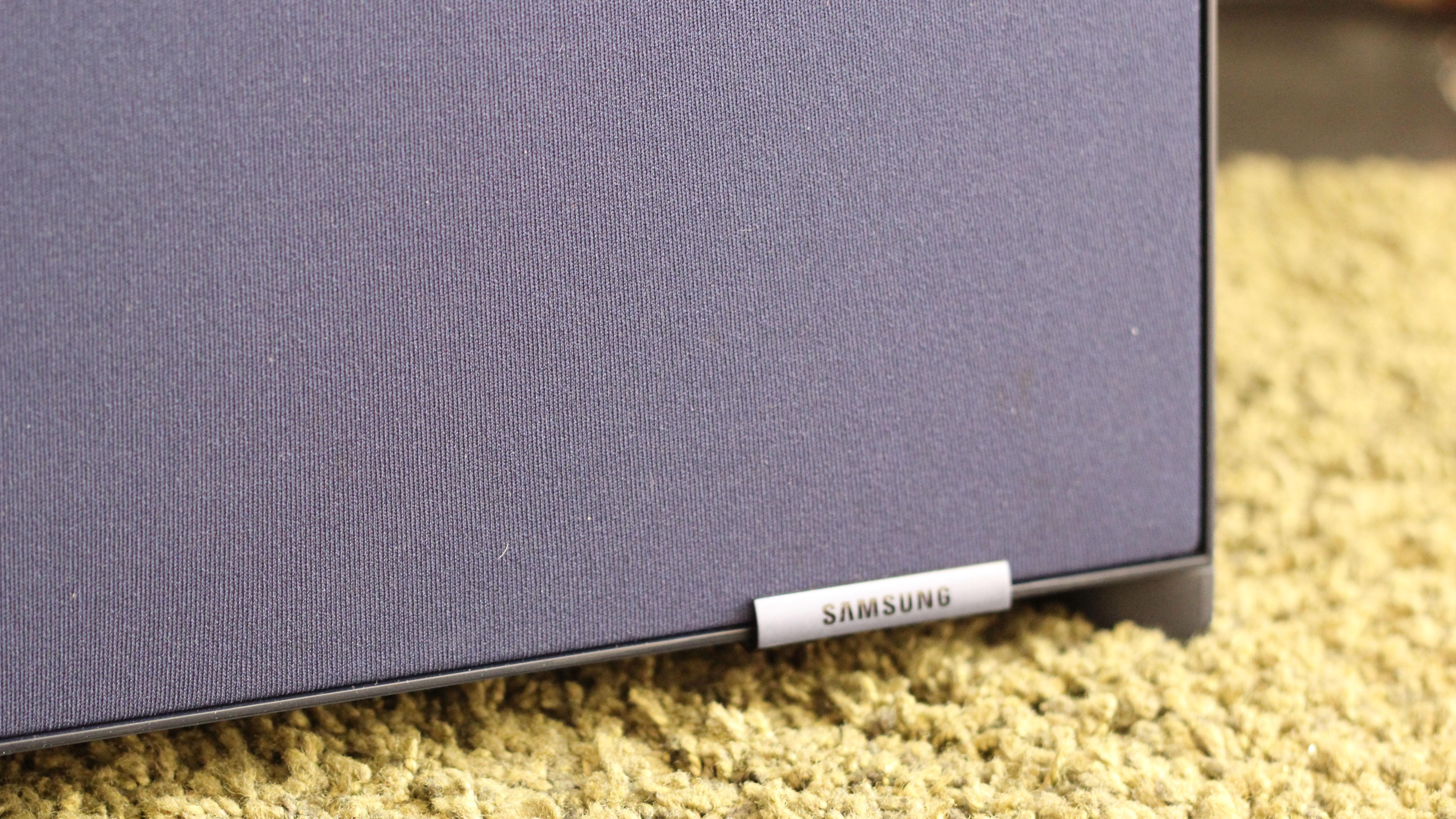 A close-up of the bottom of the Samsung Sero TV