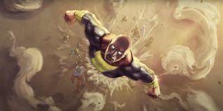 Dwayne Johnson's Black Adam flying away from Justice Society