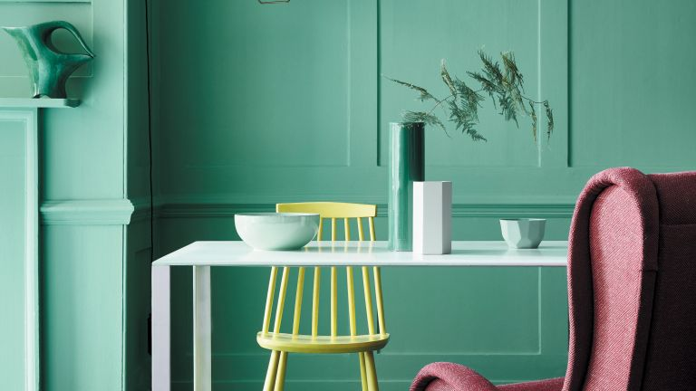 Little Greene painted office with turquoise paint
