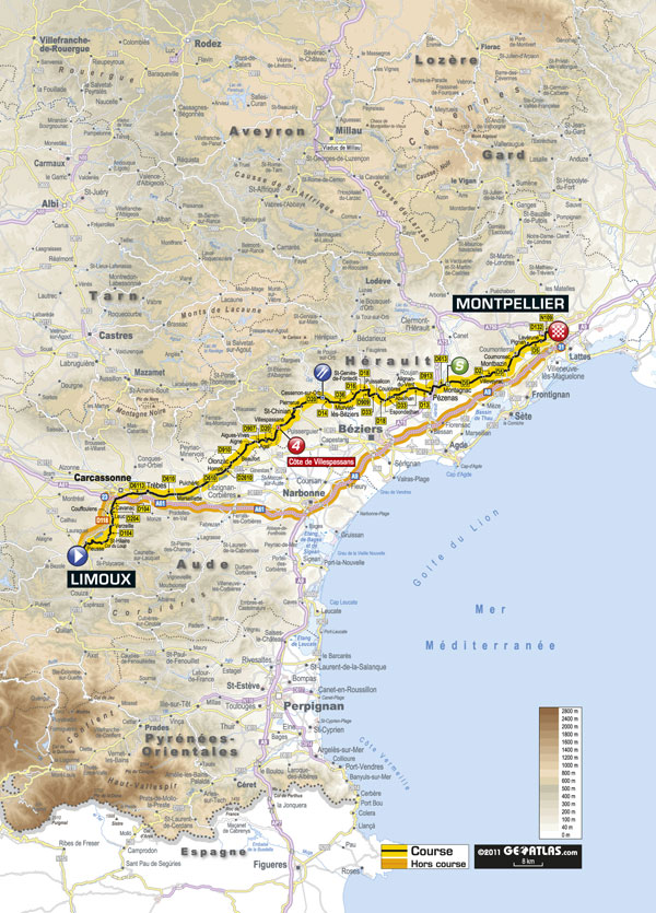 Stage 15 map, Tour de France 2011