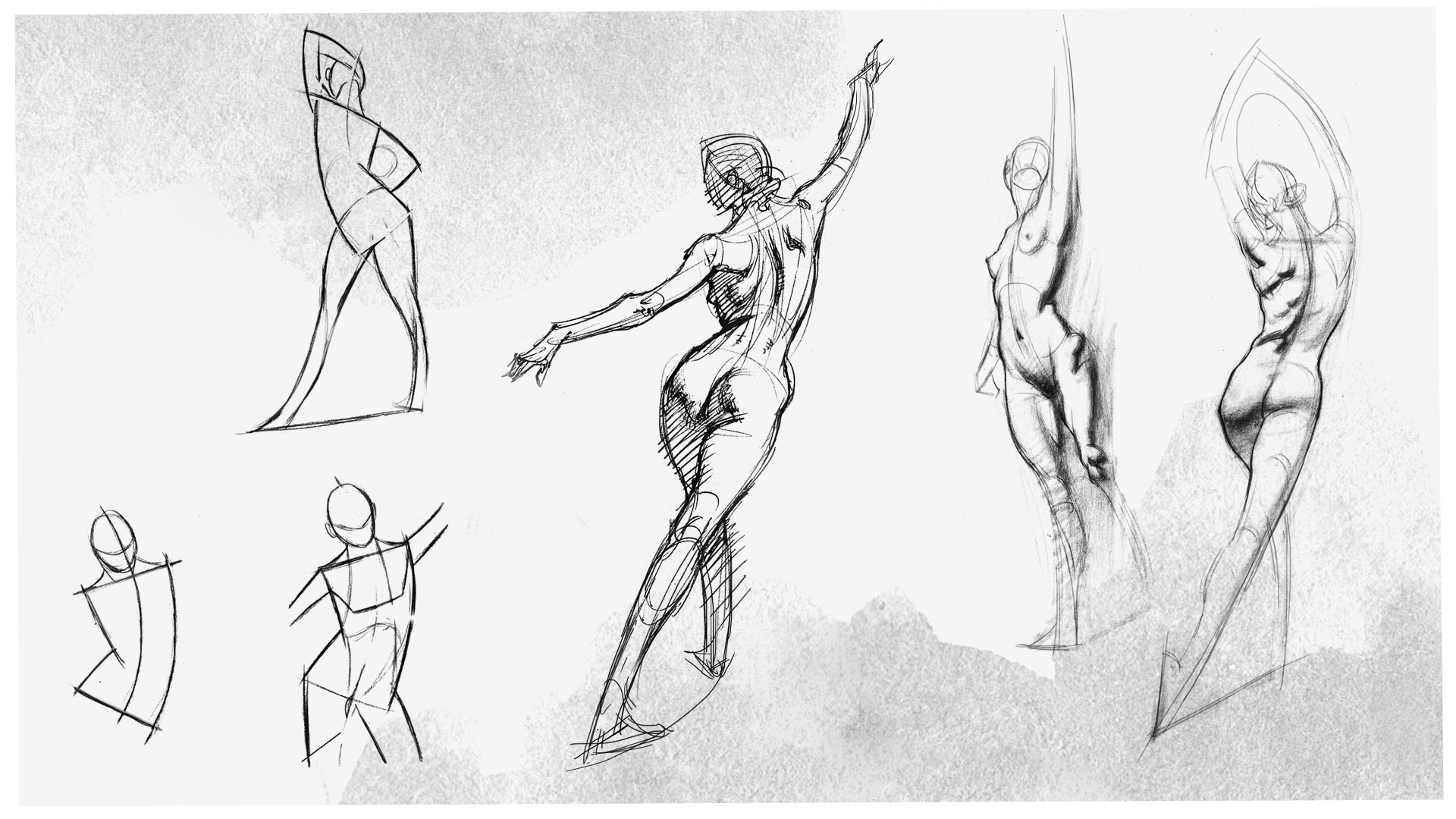 Drawings of a live person.