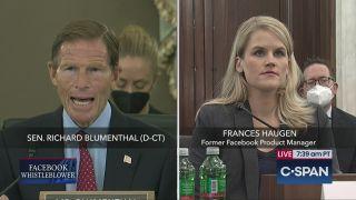 Richard Blumenthal and Facebook whistleblower Frances Haugen at a Senate subcommittee hearing.
