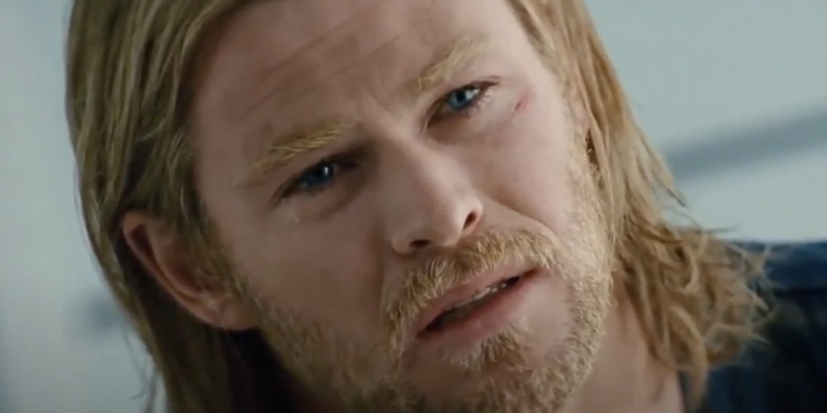 Chris Hemsworth sheds a tear in Thor