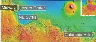 2020 Mars rover landing sites