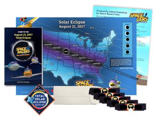 This Space Racers Eclipse Kit comes with glasses, an eclipse map, an information booklet and a limited edition mission patch.