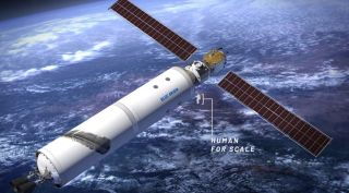 An illustration of a commercial space station based on a New Glenn upper stage, part of a summary submitted by Blue Origin, one of a dozen companies that performed LEO commercialization studies for NASA in 2018.