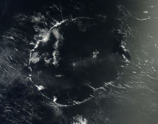 A NASA satellite spotted this O-shaped cloud over the Pacific in early September.