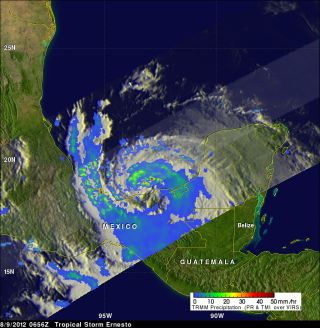 NASA satellite view of Tropical Storm Ernesto rainfall