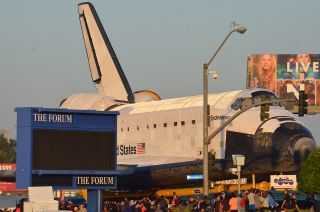 Space shuttle Endeavour as seen as it arrived at The Forum in Inglewood, Calif. on Saturday, Oct. 13, 2012.