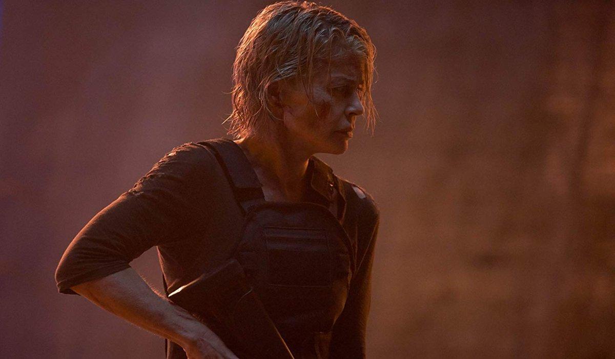 Terminator: Dark Fate Sarah Connor looking grim