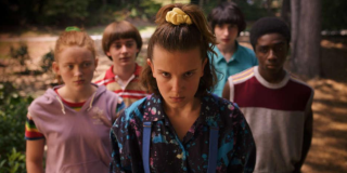 Eleven and her friends in Stranger Things 3