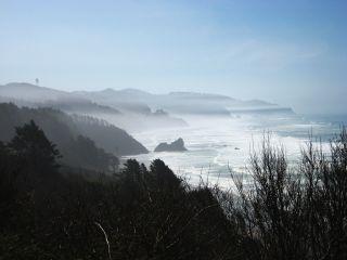 Oregon coast with fog.