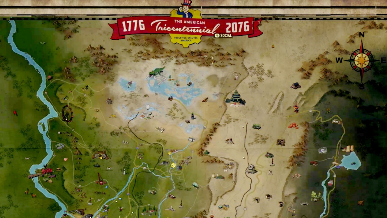 Take a look at the full Fallout 76 map, and make some travel plans
