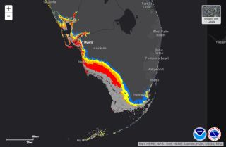 Here, a map showing potential storm surge due to Hurricane Irma, with the coastline from Naples to Fort Myers expect to get hit the hardest by surge. Red indicates the highest surge of 9 feet and greater.