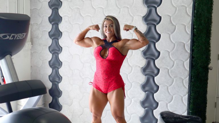 TikTok star Fafa Fitness showing off her muscular physique