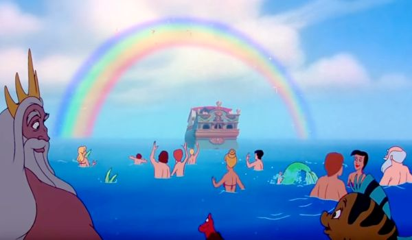 Ariel and Eric sailing away in The Little Mermaid