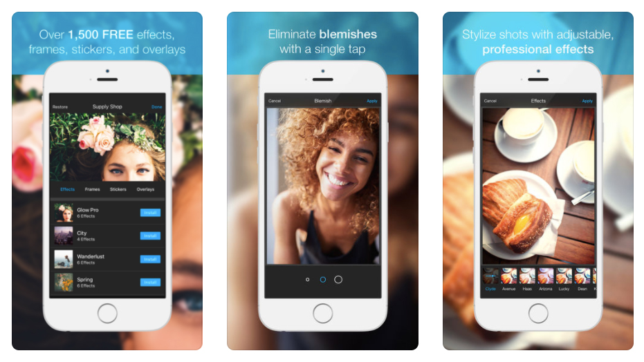 Photo Editor by Aviary on smartphones says 'Create beautiful photos with over 1500 free tools' and 'Eliminate blemishes with a single tap'