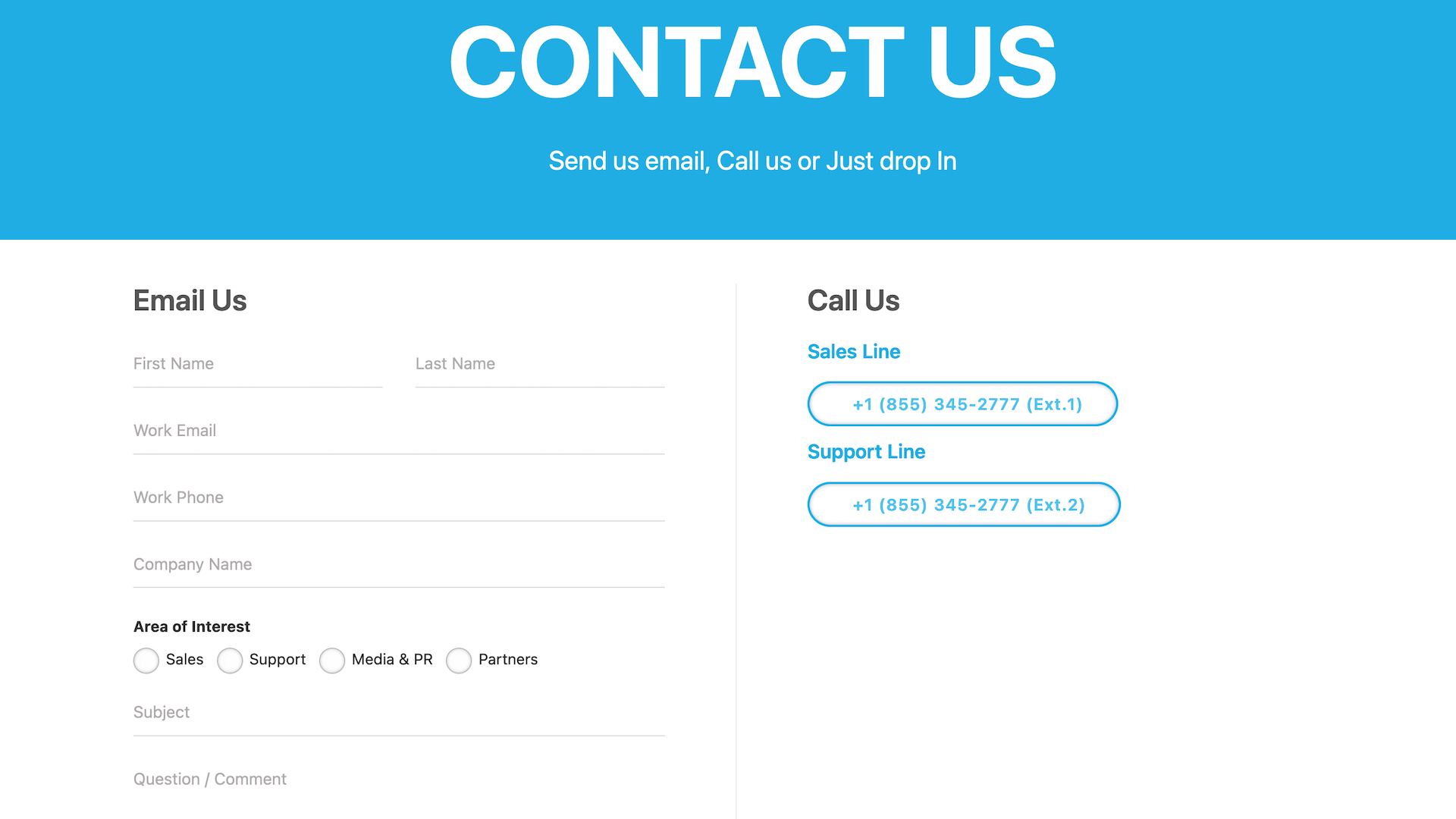Apptivo's online customer service contact page