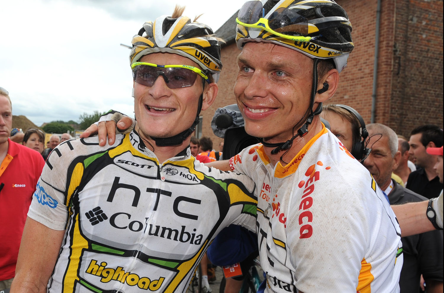 Stage winner Andre Greipel and overall leader Tony Martin, Eneco Tour 2010
