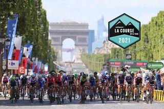 The women's peloton race on the Champs Elysees at 2016 La Course by Le Tour de France