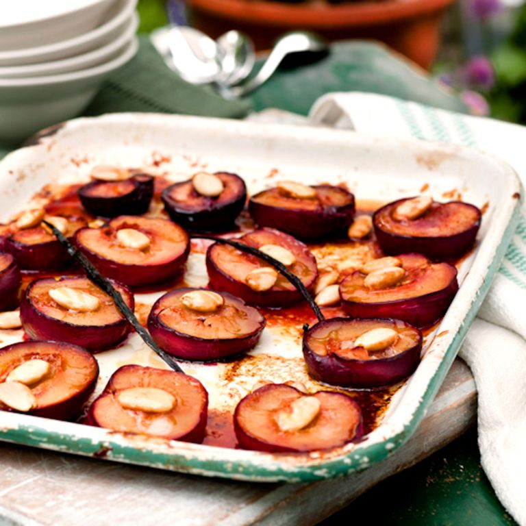 Honey and Rose-Baked Plums recipe-plum recipes-recipe ideas-new recipes-woman and home