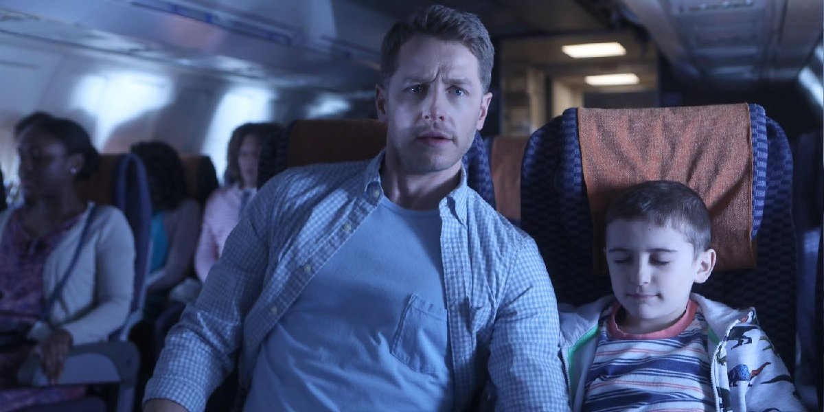 Josh Dallas as Ben Stone and Jack Messina as Cal Stone in Manifest.