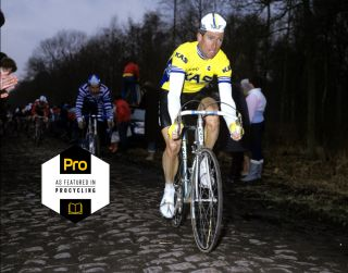 Sean Kelly (Kas) tames the cobbles en route to victory at the 1986 Paris-Roubaix
