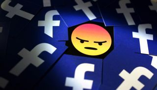 An angry emoji surrounded by multiple examples of the Facebook logo.