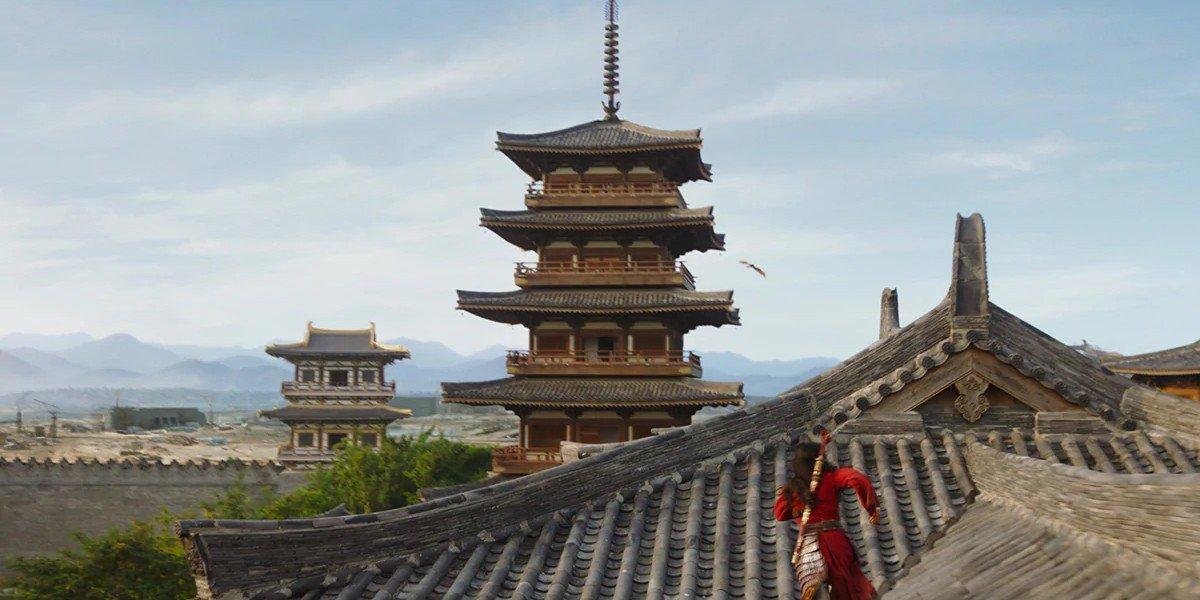 Mulan running on the rooftops