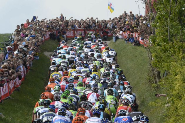Photo: The peloton climbs the Gulpenerberg in the 2014 Amstel Gold Race .