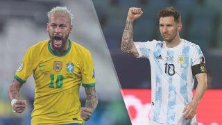Brazil vs Argentina live stream at Copa America — Neymar of Brazil and Lionel Messi of Argentina