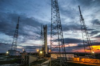 A SpaceX Falcon 9 rocket sits on the launch pad in September 2014.