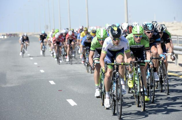 Michael Hepburn leads an escape on stage four of the 2014 Tour of Qatar