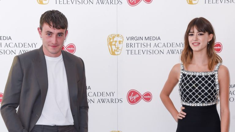 Paul Mescal and Daisy Edgar-Jones socially distant attend the Virgin Media British Academy Television Award 2020 at Television Centre on July 31, 2020 in London, England.