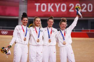 Tokyo Olympics USA team pursuit women Jessica Valente Chloe Dygert