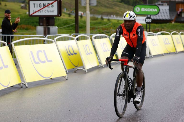 Nic Dlamini on stage nine of the 2021 Tour de France