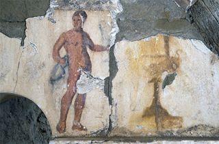 Naked servant mural