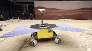 """China's Tianwan-1 Mars rover is pictured at the """"Mars yard,"""" a simulated Red Planet testing ground at the China Academy of Space Technology in Beijing, China."""