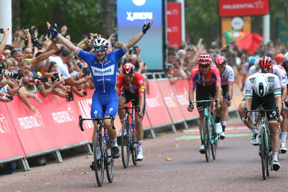 Elia Viviani sprints to victory at the RideLondon-Surrey Classic