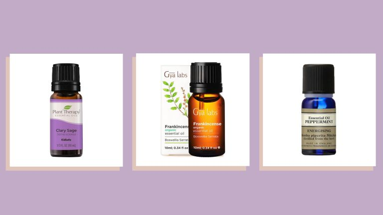 three of w&h's best essential oils picks on a lilac background