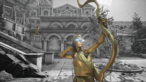 The Forgotten City statue with bow