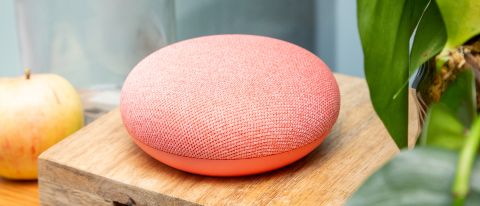 The Google Nest Home Mini in coral