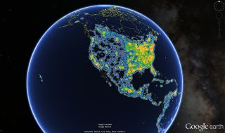 North America is brightly lit on a globe indicating artificial night-sky brightness