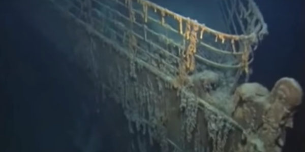 Sunken Titanic image from NOAA Titanic Expedition video