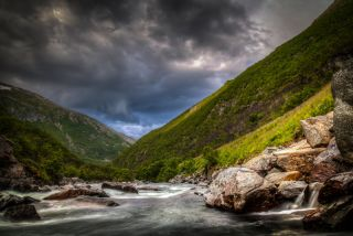 Dovre mountain stream in Oppdal county, norway